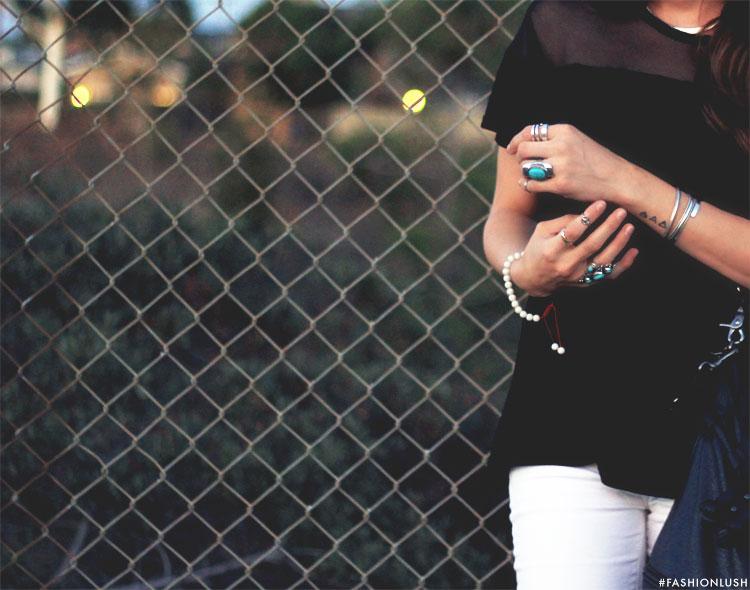 fashionlush, black and white fashion, turquoise jewelry
