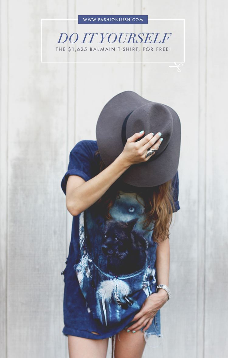 fashionlush, diy distressed t-shirt, diy balmain shirt