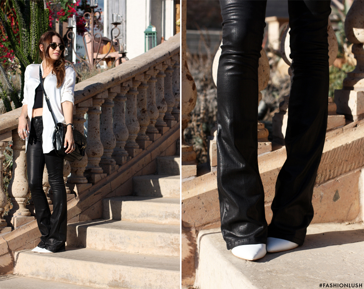 fashionlush, black and white fashion, leather bell bottoms