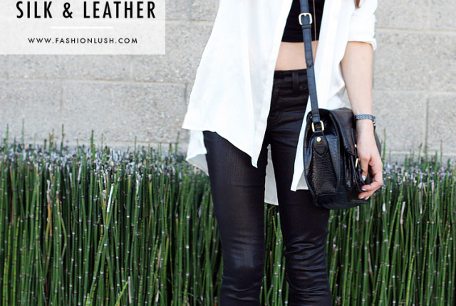 silk and leather ootd 1