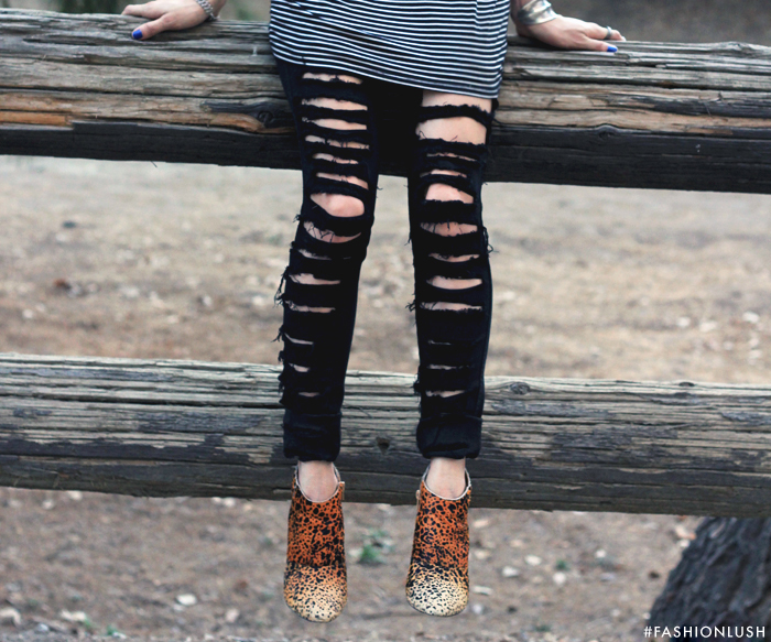fashionlush, matisse nugent boots, stripes and leopard