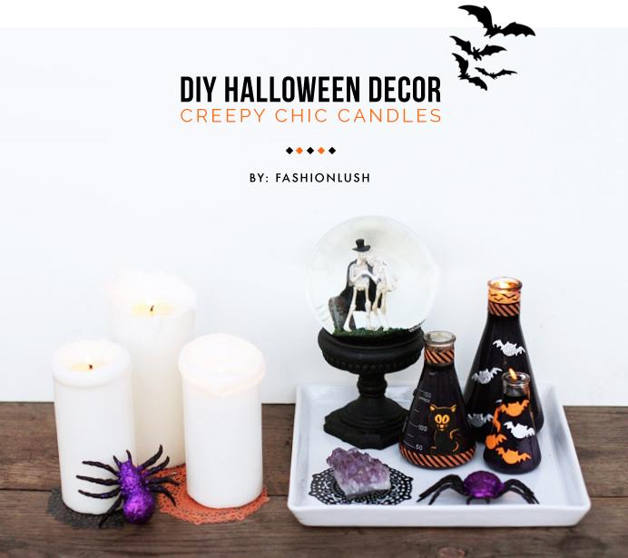 fashionlush, halloween decor, diy candles