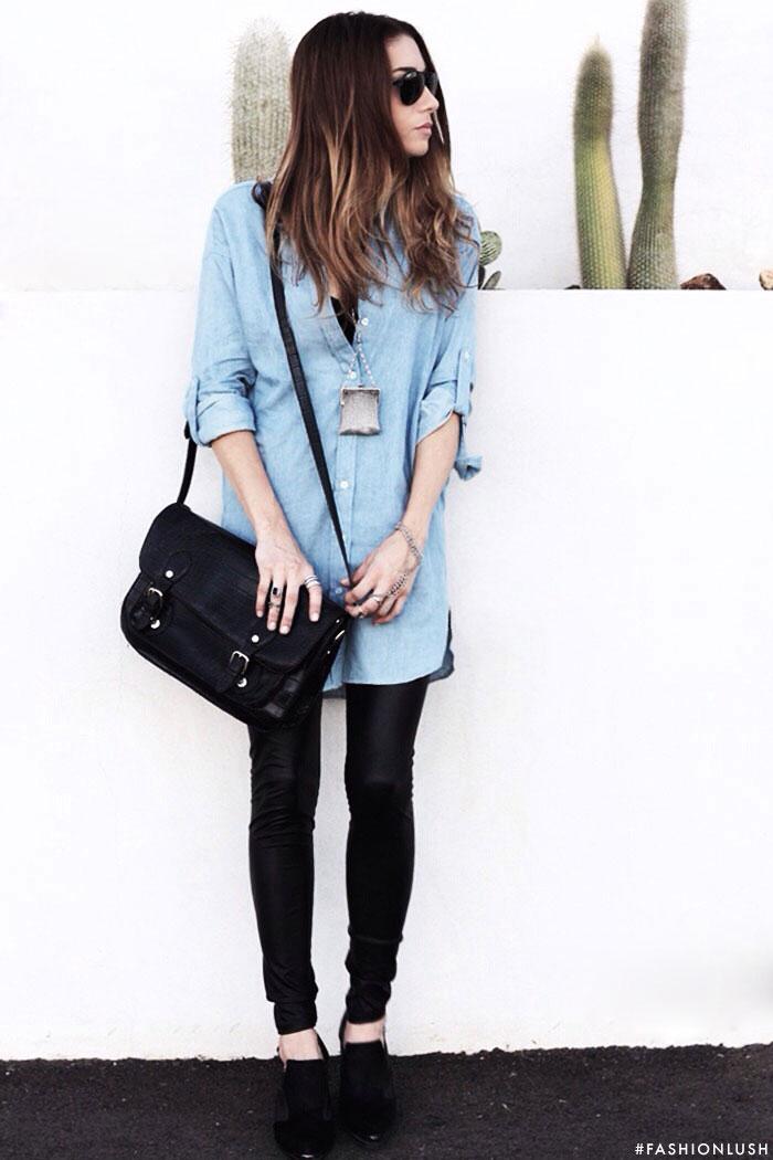 fashionlush, leather leggings, chambray shirtdress