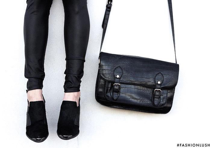 fashionlush, pony hair shoes, leather leggings