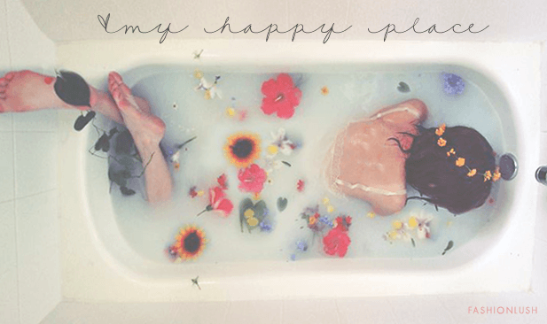 bathtub flowers girl