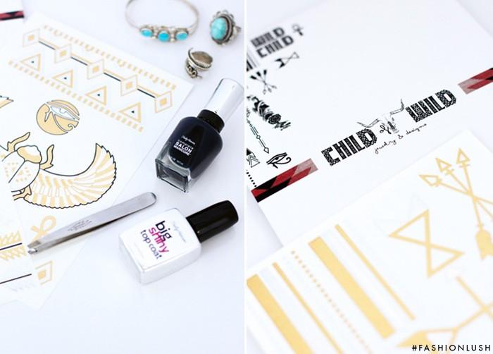 fashionlush, festival nail art, child of wild flash tattoos