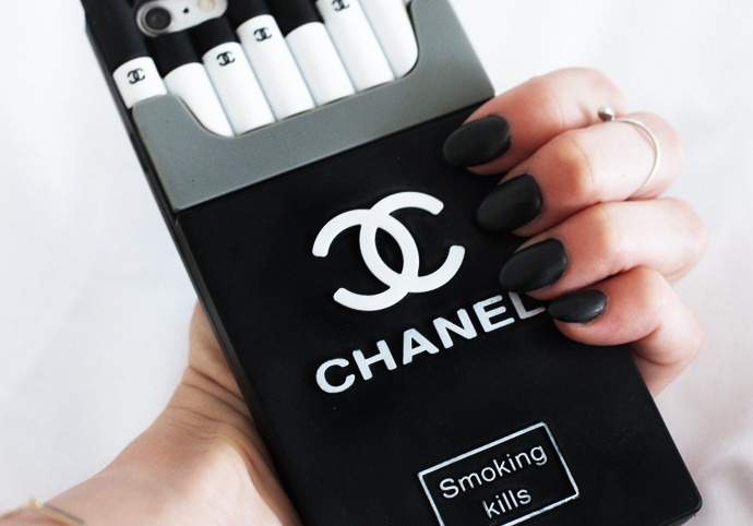 fashionlush, Chanel cigarette iphone case, matte black nails