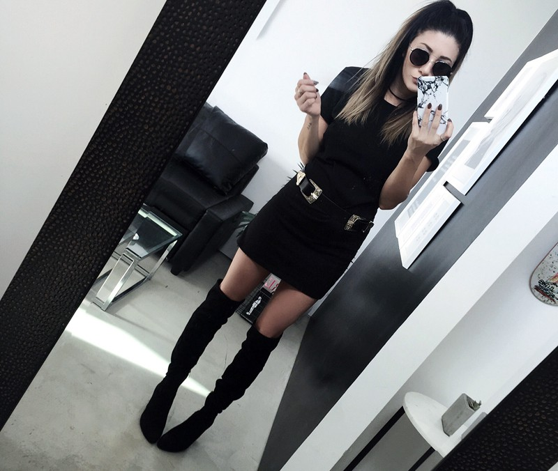 fashionlush, all black outfits, marble iphone case