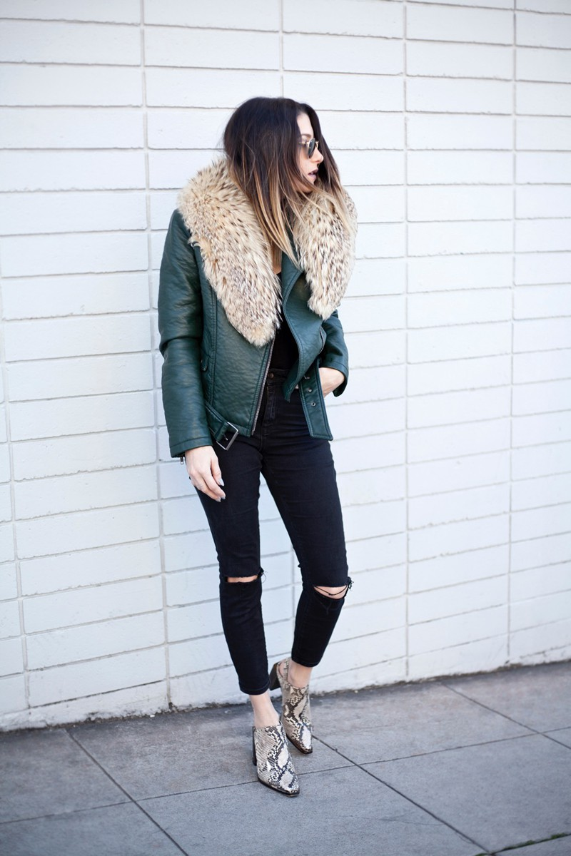 fashionlush, fall fashion, snakeskin mules, detachable fur collar