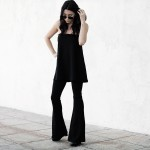 fashionlush, all black outfits, tube top, coordinates