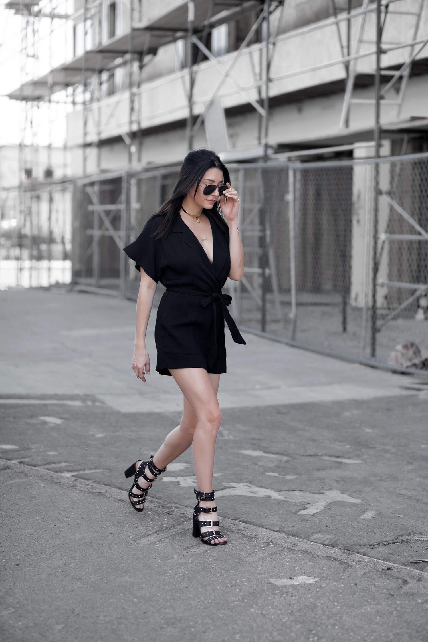 fashionlush, little black playsuit, street style