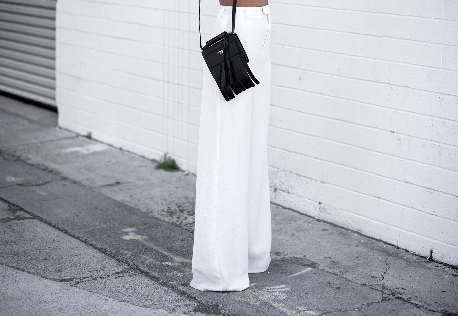 fashionlush, black and white, wide leg trousers