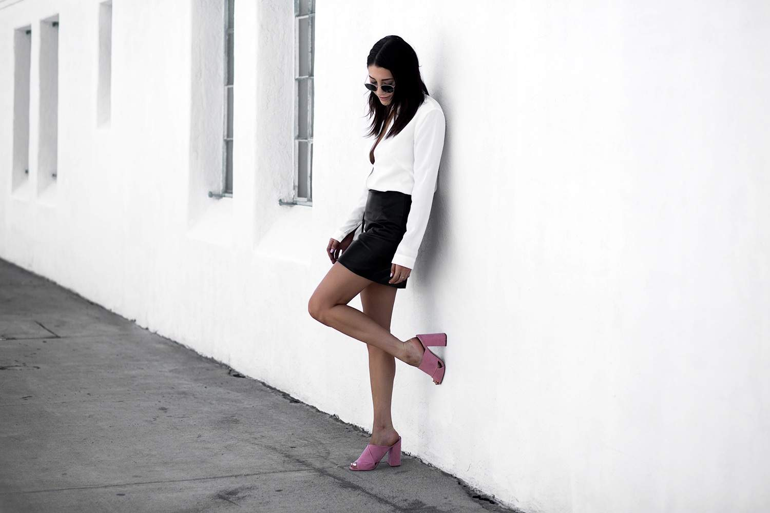 fashionlush, minimal style, pop of pink
