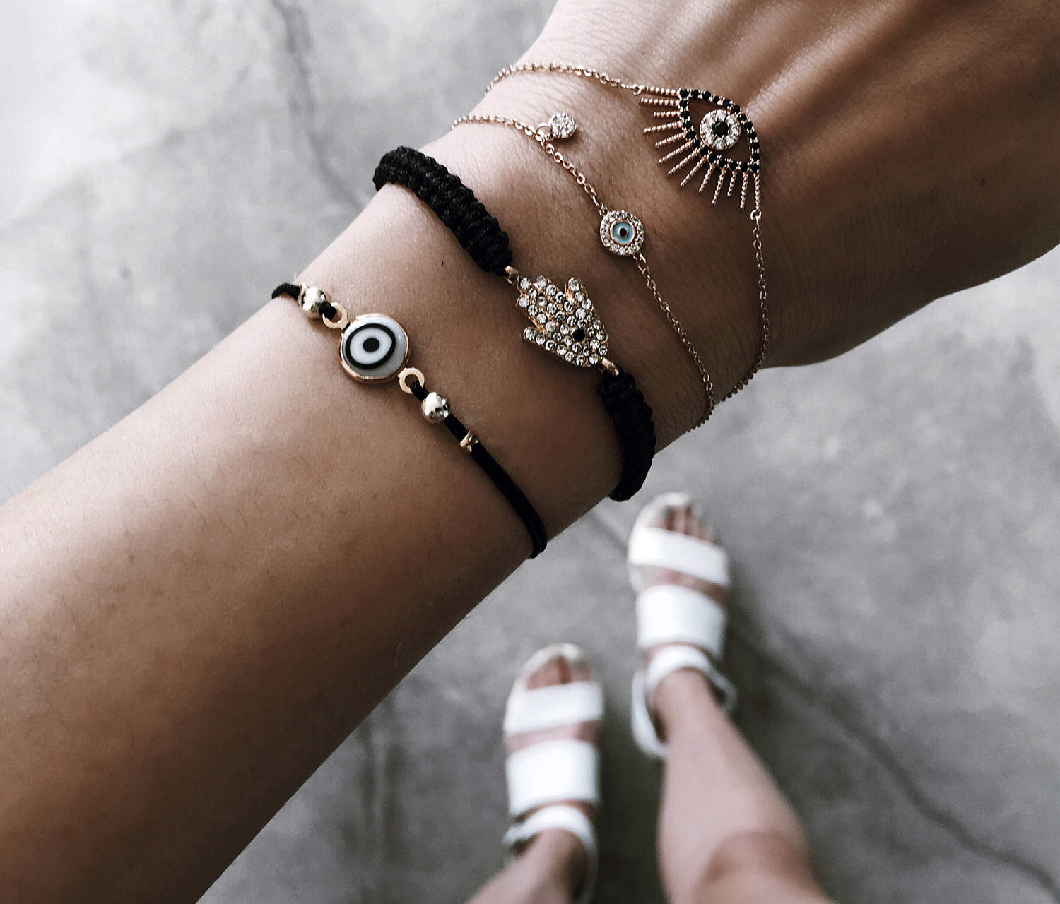 fashionlush, greece bracelets, evil eye jewelry