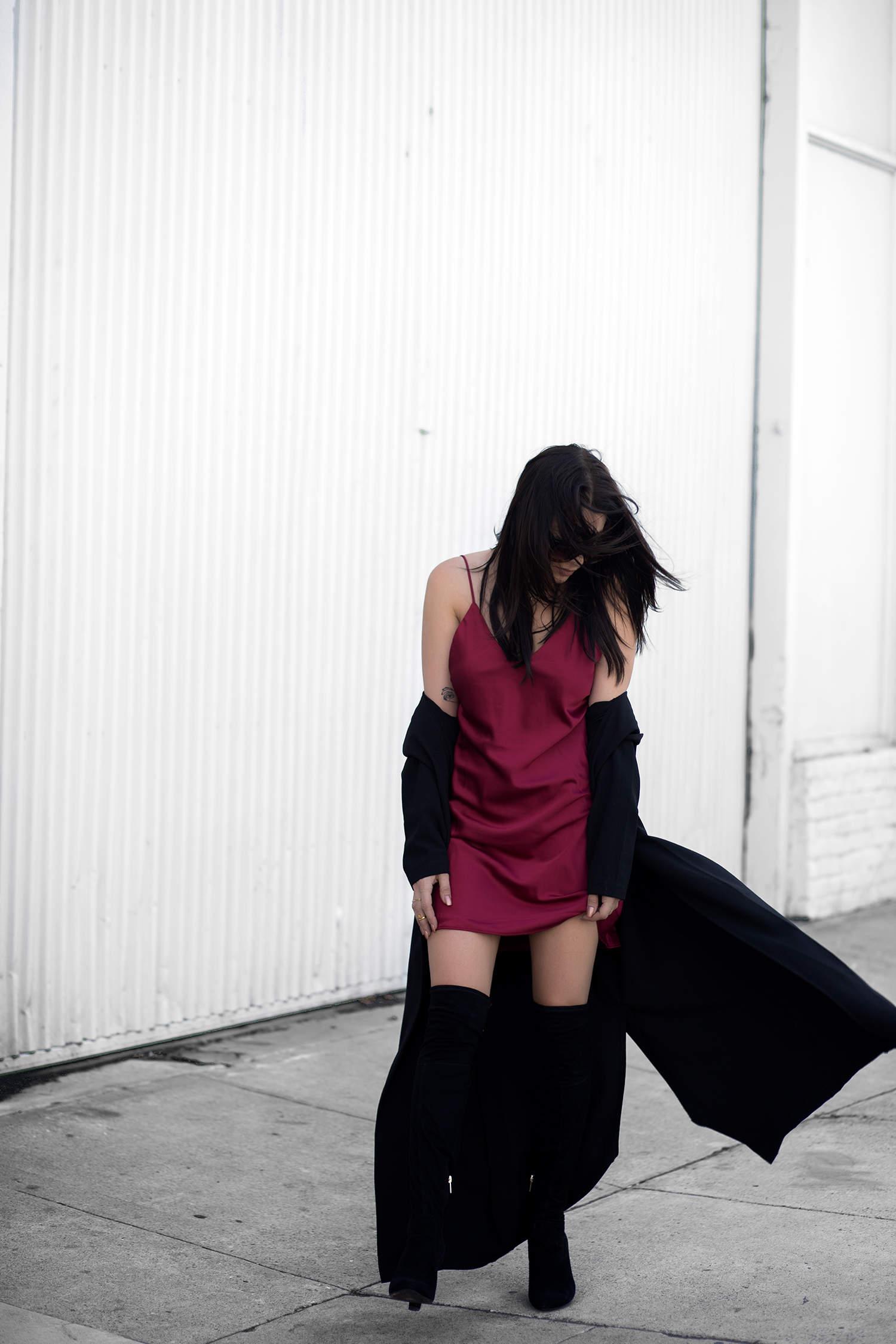 short skirt, long jacket, fashionlush
