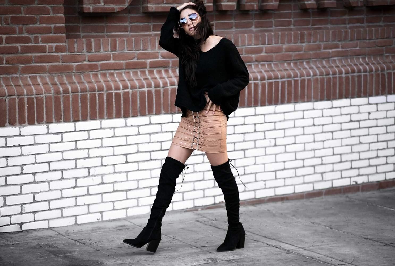 fashionlush, buckled leather skirt, fall fashion