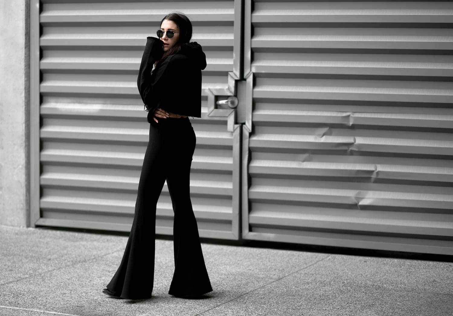 all black outfits, fashionlush, bell bottoms